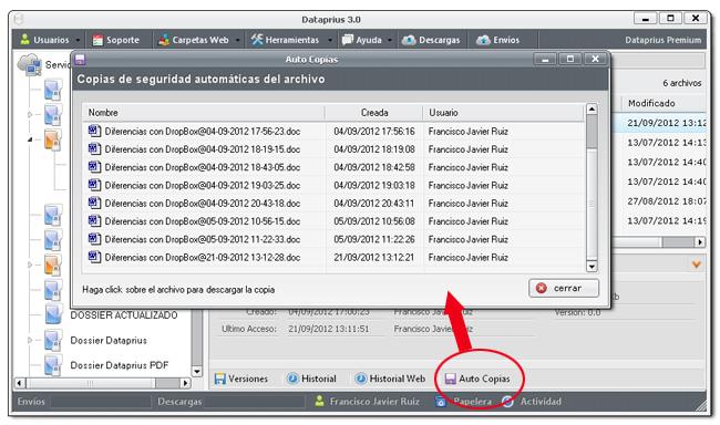 Copias de seguridad automáticas de los archivos
