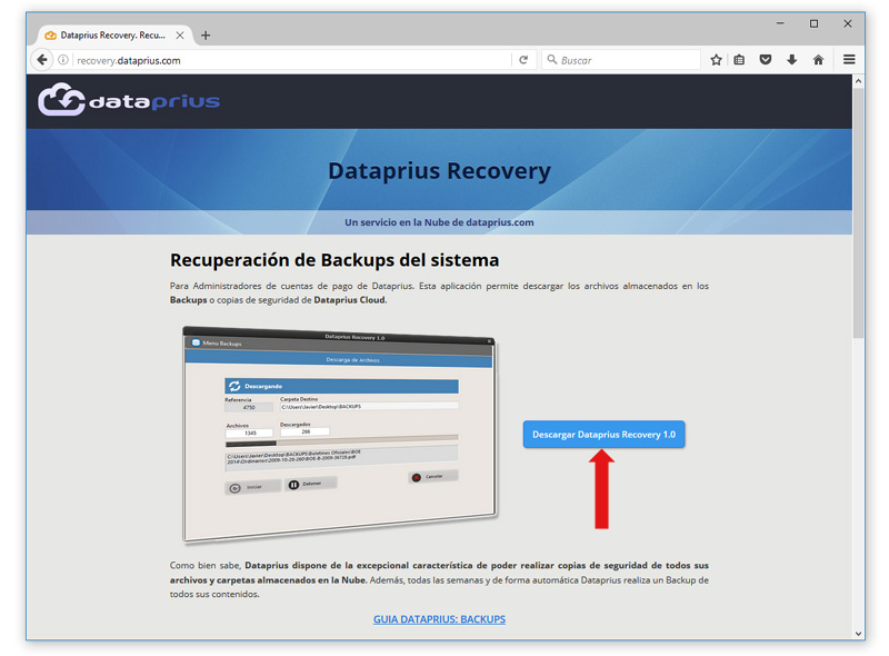 dataprius recovery backups web