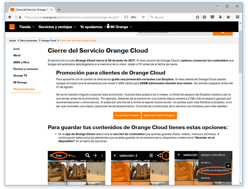 cierre servicio orange cloud