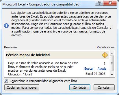 Comprobador de compatibilidad de Excel