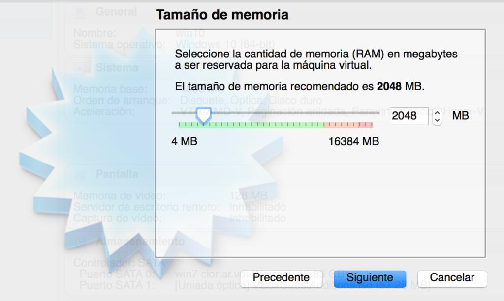 Elegir Memoria maquina virtual