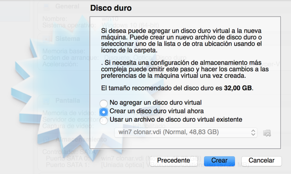 Elegir tipo de disco duro virtual