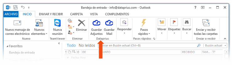 Botones Dataprius en Outlook
