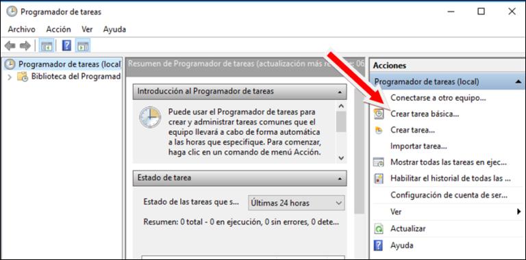 Crear nueva tarea programada en windows