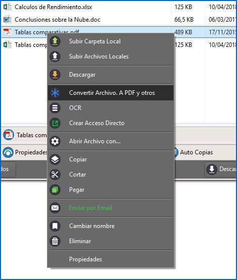 Opcion para convertir archivos