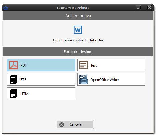 Ventana convertir Word a PDF Dataprius