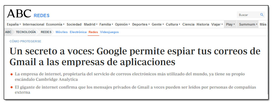 Un secreto a voces: Google permite espiar tus correos de Gmail a las empresas de aplicaciones
