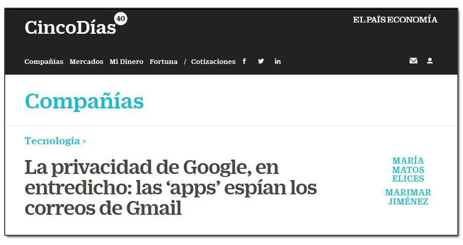 La privacidad de Google, en entredicho: las 'apps' espían los correos de Gmail