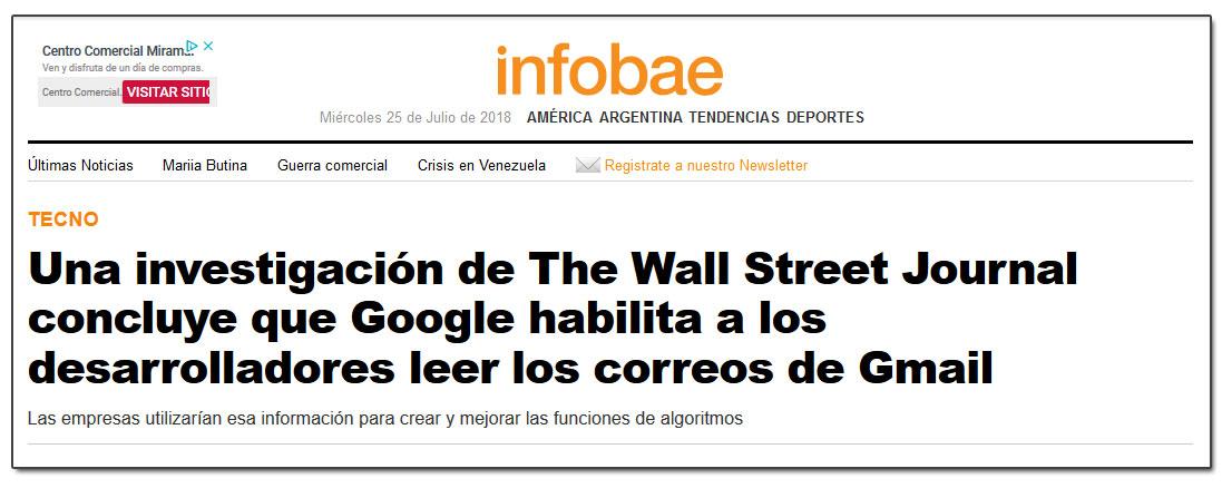 Una investigación de The Wall Street Journal concluye que Google habilita a los desarrolladores leer los correos de Gmail
