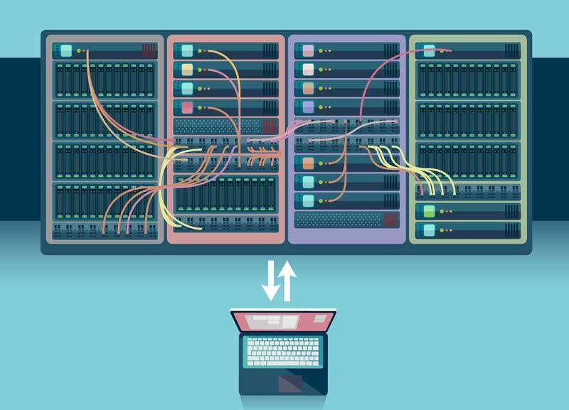 Ilustración portátil conectado a servidores cpd
