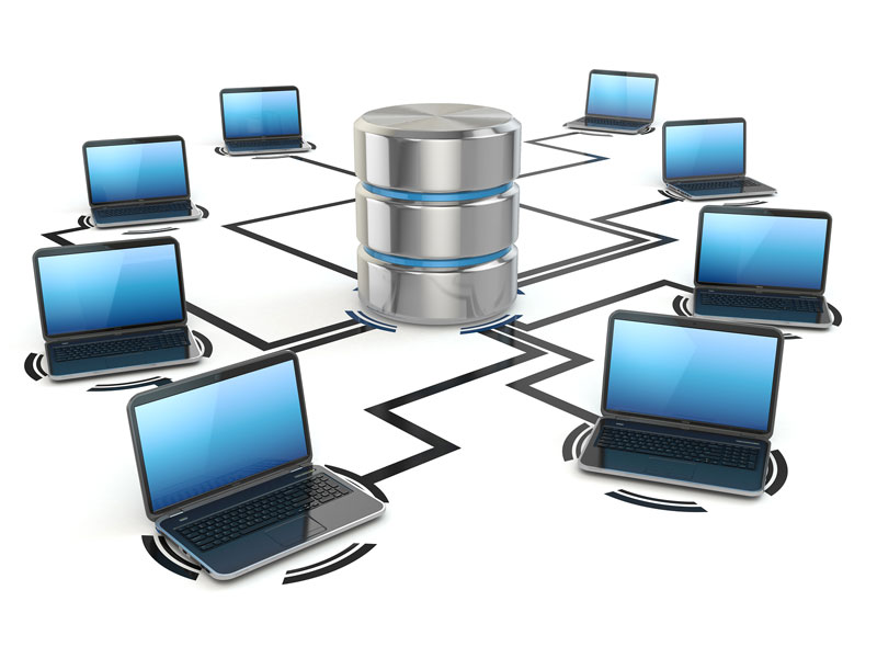 Ilustración ordenadores accediendo a almacenamiento central