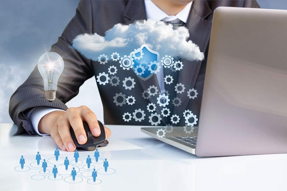 Ilustración almacenamiento cloud business