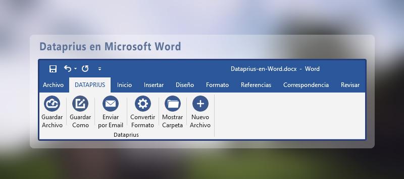Barra de herramientas dataprius en Word 2016