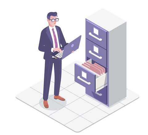 Ilustración accediendo a carpetas en archivador