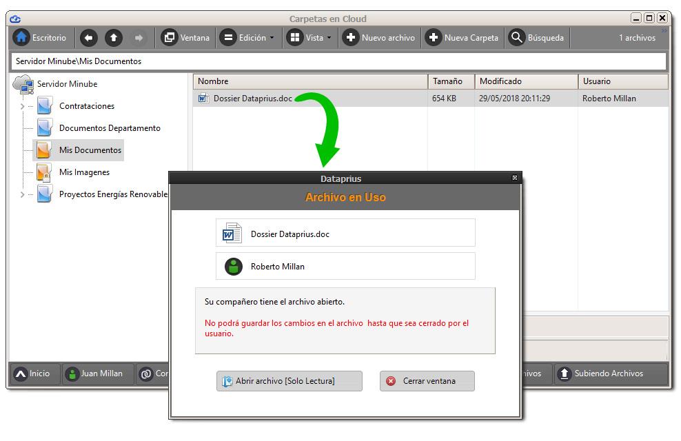 Ventana Dataprius que muestra archivo en uso. Evita conflictos.