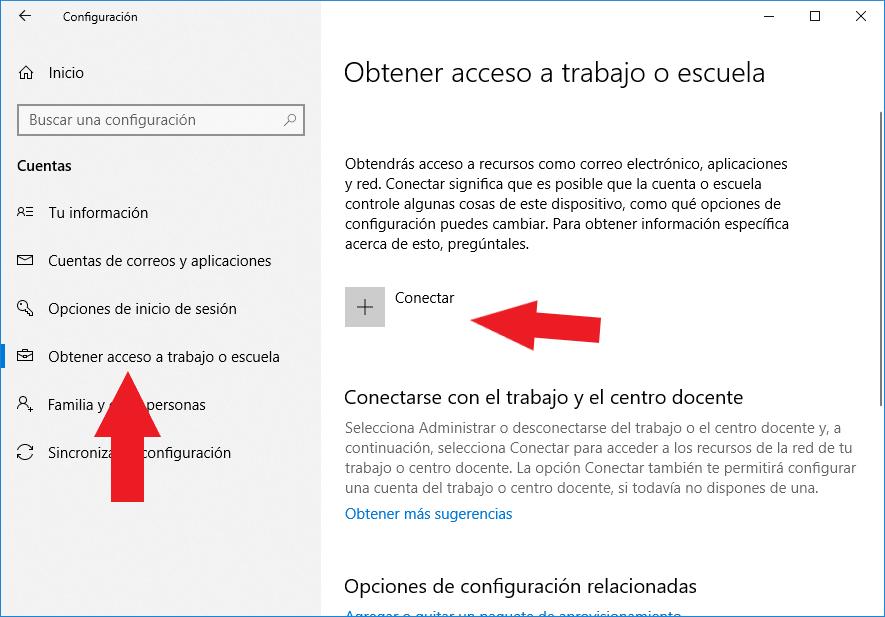 Configuración cuentas de usuario windows 10 para conectar acceso a trabajo o escuela