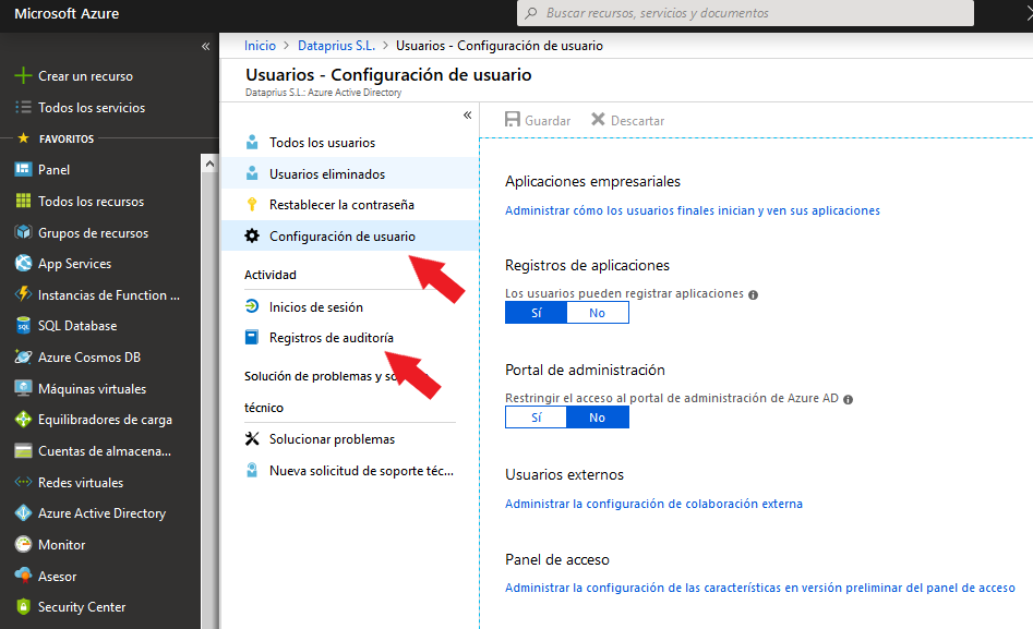 Configuración de usuarios desde Azure Active Directory