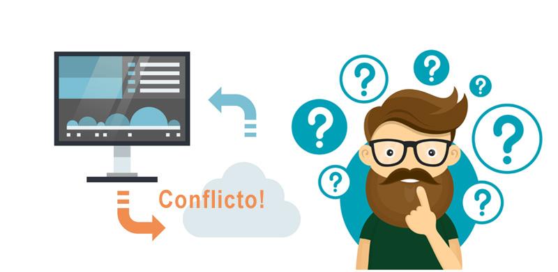 Ilustración conflicto de archivo