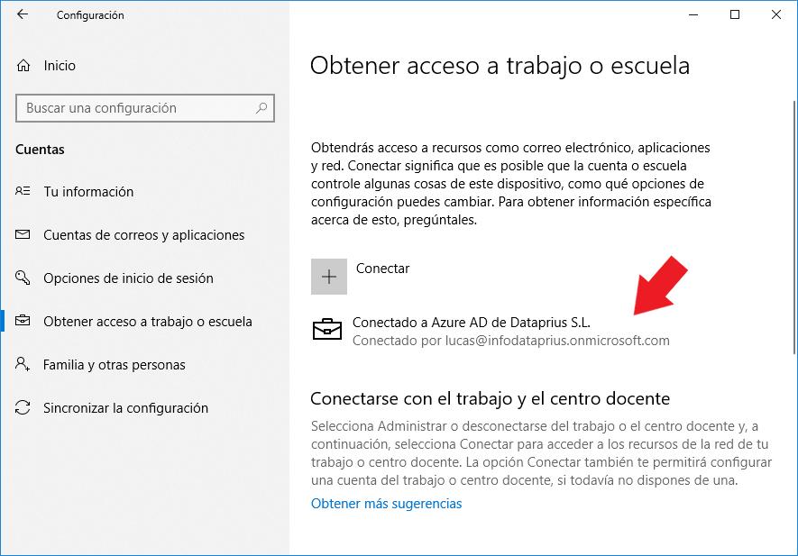 Dispositivo conectado a dominio de Azure Active Directory