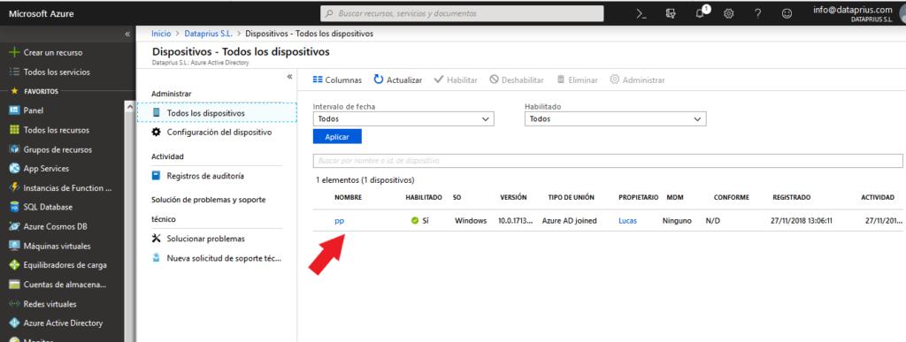 Gestión de dispositivos conectados al dominio de Azure Active Directory