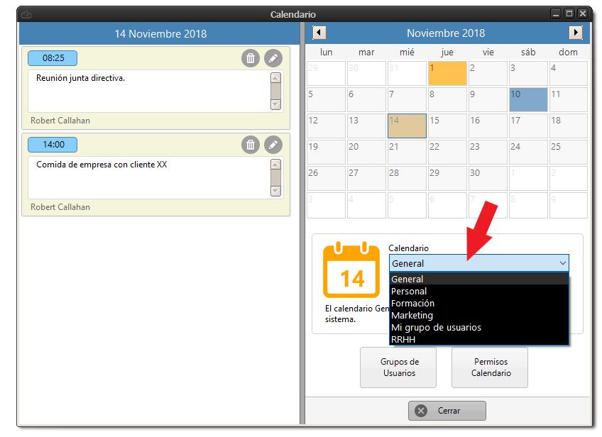 Seleccionar grupos de calendarios