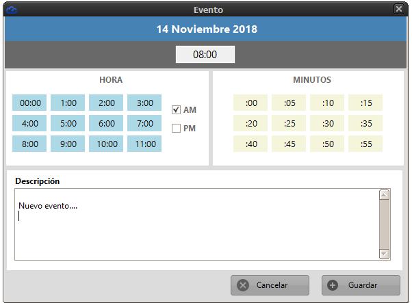 Ventana para insertar evento en el calendario