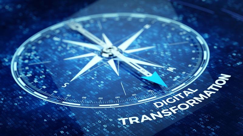 Ilustración brújula transformación digital