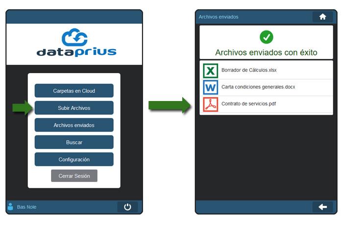 Subiendo archivos aplicación web Dataprius