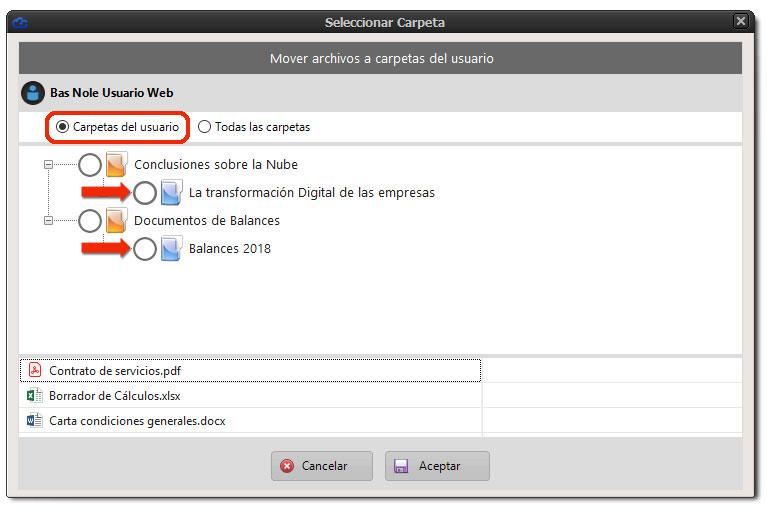 Seleccionando carpetas del usuario para mover archivos recibidos desde la web.