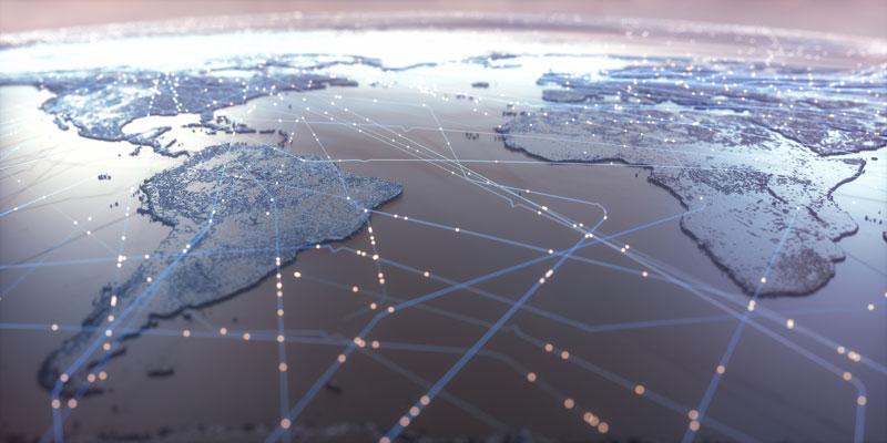 Mapa del mundo interconectado