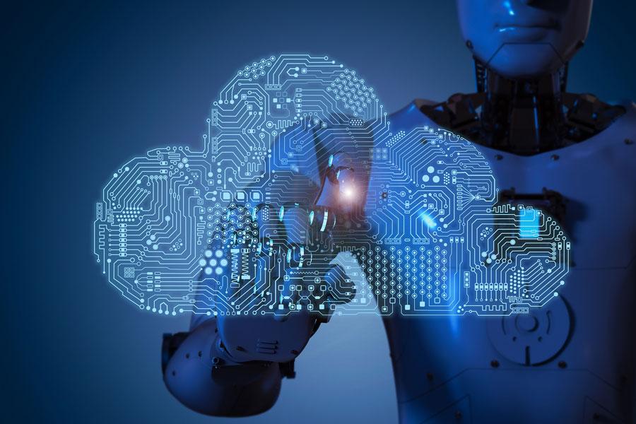 Robot con IA accediendo a la nube