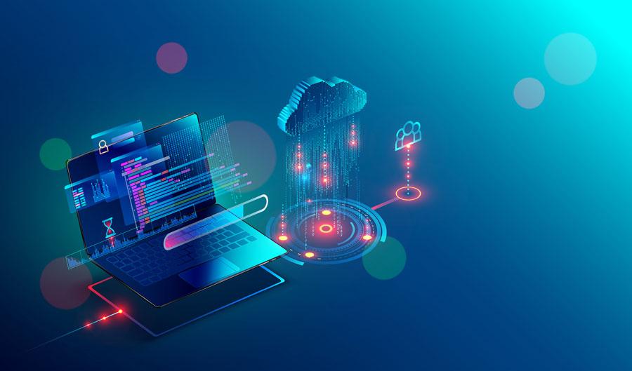 portátil accediendo a los datos de la nube