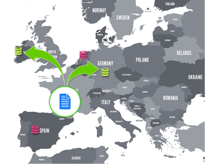 Almacenamiento redundante en Irlanda y Alemania