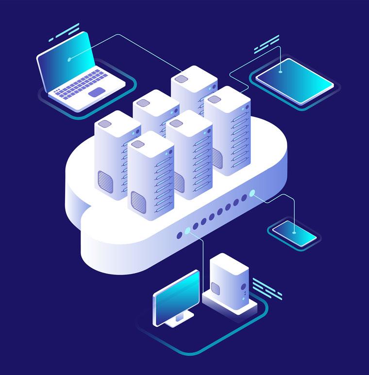 Ilustración ubicuidad y disponibilidad cloud computing.