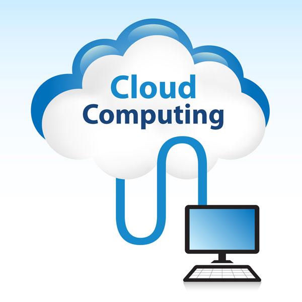 Ordenador conectándose a Cloud computing