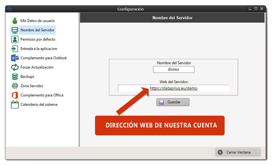 Dirección de la web dataprius de la cuenta