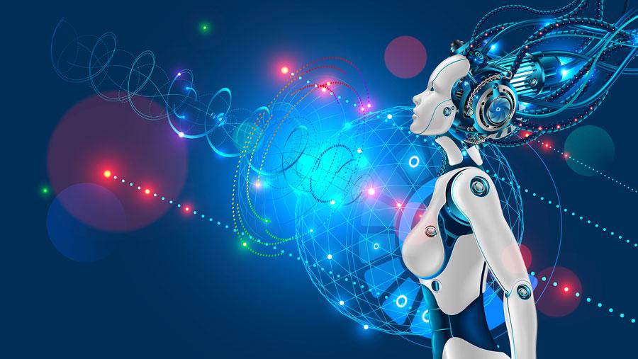 Robot con forma de muer mirando al futuro tecnológico.