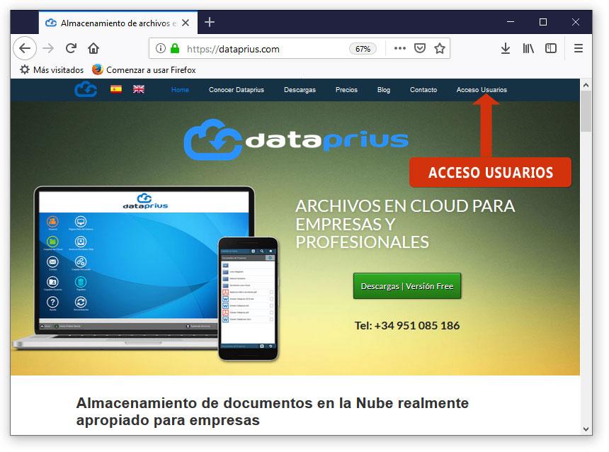 Acceso usuarios en la web de dataprius