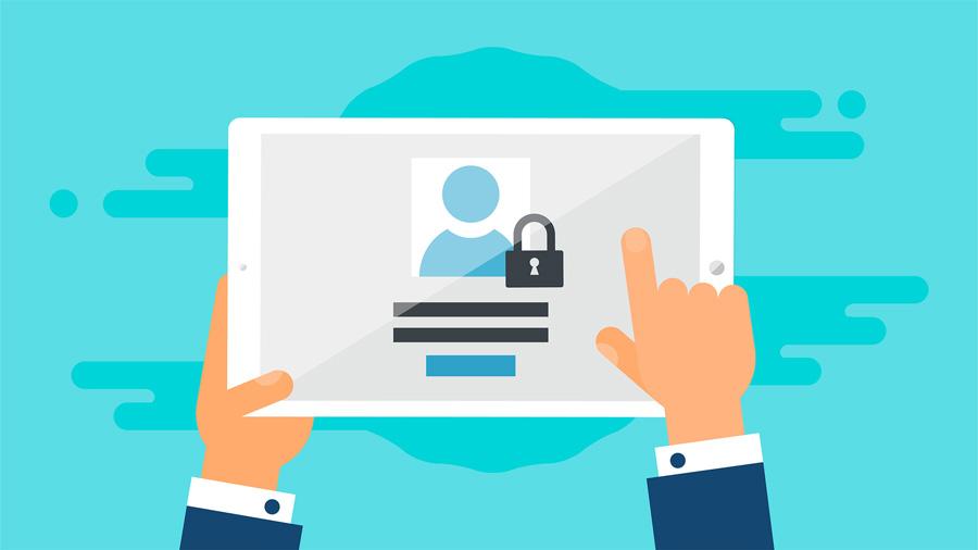 Tableta donde se hace click para acceder al área privada de una empresa