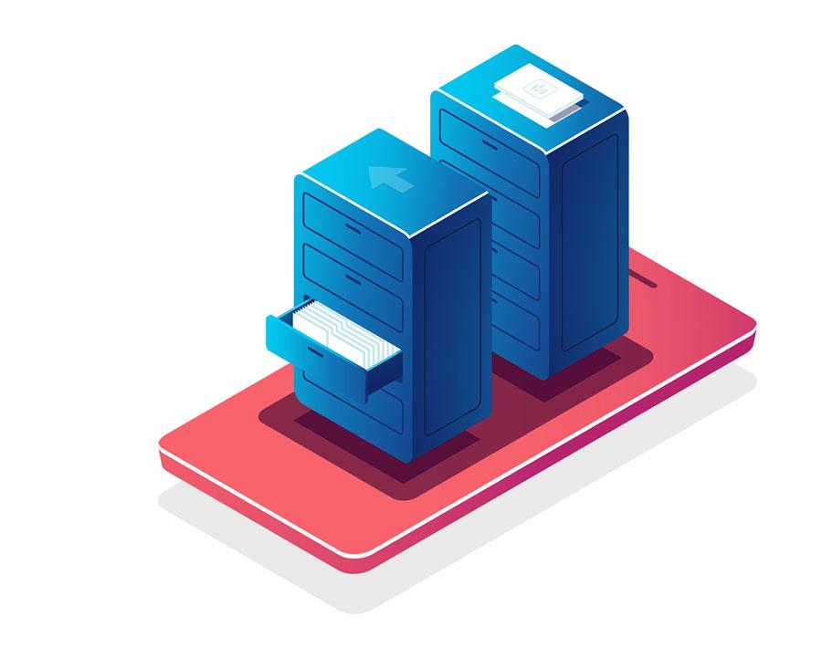 Ilustración archivado digital de documentos