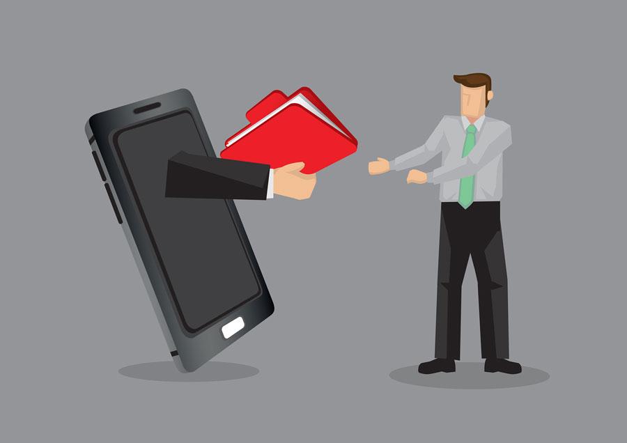 Ilustración. Compartir documentos móvil.