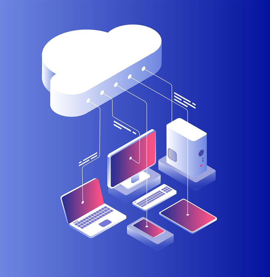 ilustración dispositivos conectados a la nube