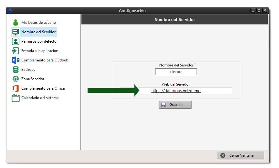 Ventana de configuración de la web Dataprius para archivos compartidos.