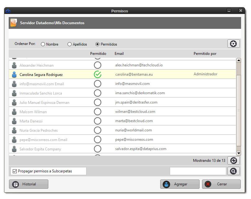 Ventana para conceder permisos de acceso a los clientes en Dataprius.