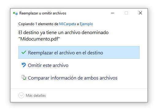 Ventana de Windows advierte de sobre-escritura