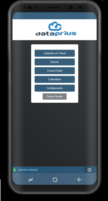 Captura aplicación Android menu de opciones.