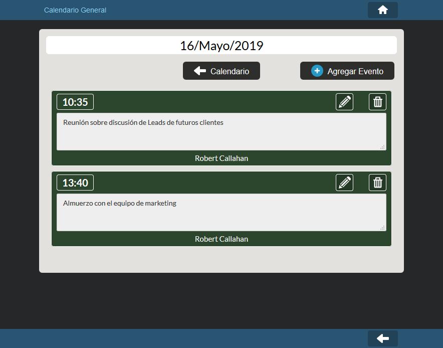 Listado de eventos de un día del Calendario