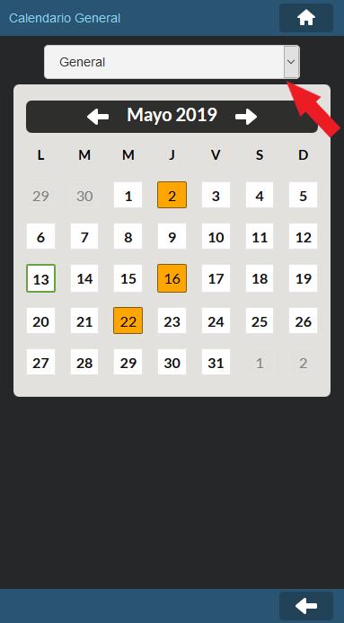 Vista mensual del Calendario General