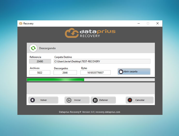 Ventana de Dataprius Recovery descargando archivos