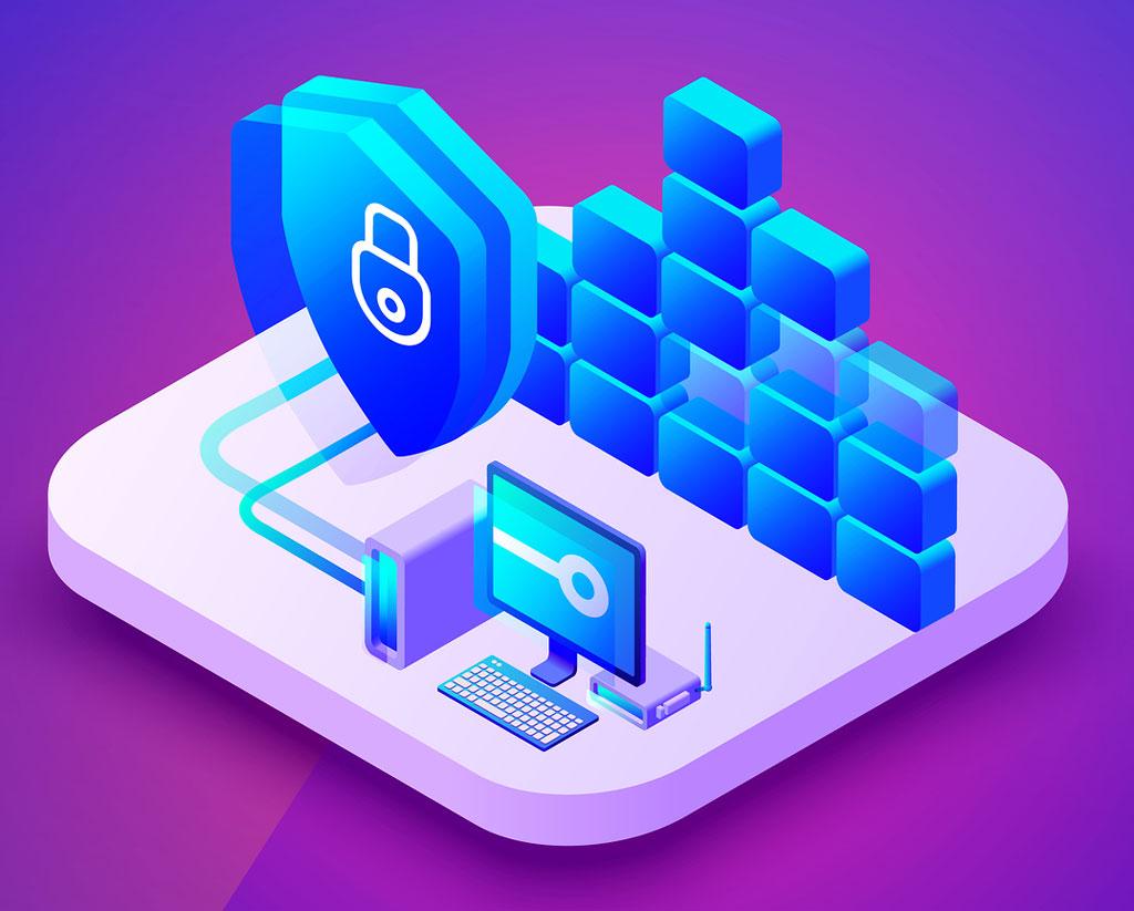 Ilustración sobre almacenamiento en Cloud, seguridad y encriptación.